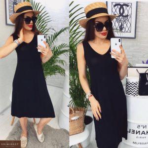 Заказать черное женское базовое летнее платье из трикотажа выгодно