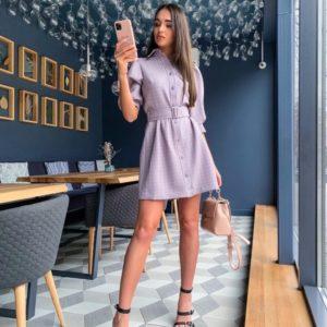 Заказать лиловое женское платье-рубашка с рукавами-фонариками 3/4 в клетку выгодно