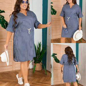Приобрести синее женское платье-миди из летней джинсовой ткани (размер 50-58) выгодно