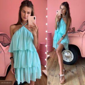 Приобрести голубое женское шифоновое платье с рюшами на подкладке по скидке