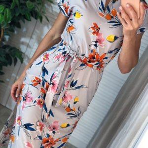 Заказать серо-оранжевое женское платье миди в цветочный принт с поясом дешево