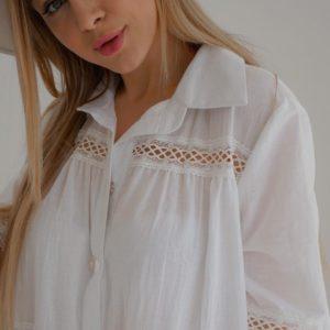 Купить женское белое платье из хлопка с кружевом (размер 42-54) хорошего качества