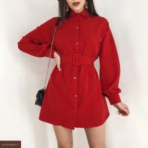Купить красное женское платье-рубашка с длинным широким рукавом в Днепре, Одессе
