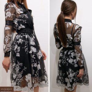 Заказать женское черное шифоновое платье с вышивкой (размер 42-52) по низким ценам