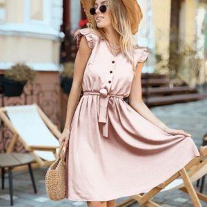 Купить женское легкое платье из штапеля с рукавами-крылышками (размер 42-48) бежевое по скидке