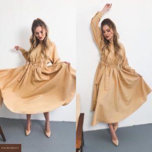 Приобрести бежевое женское платье-рубашка из габардина с расклешенной юбкой по скидке