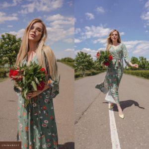 Купить зеленое женское длинное платье с широкими рукавами в Днепре