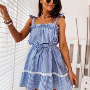 Купить голубое женское летнее платье на завязках с поясом хорошего качества