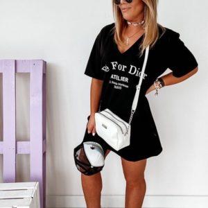 Приобрести черное женское платье oversize с V-образным вырезом в интернет-магазине