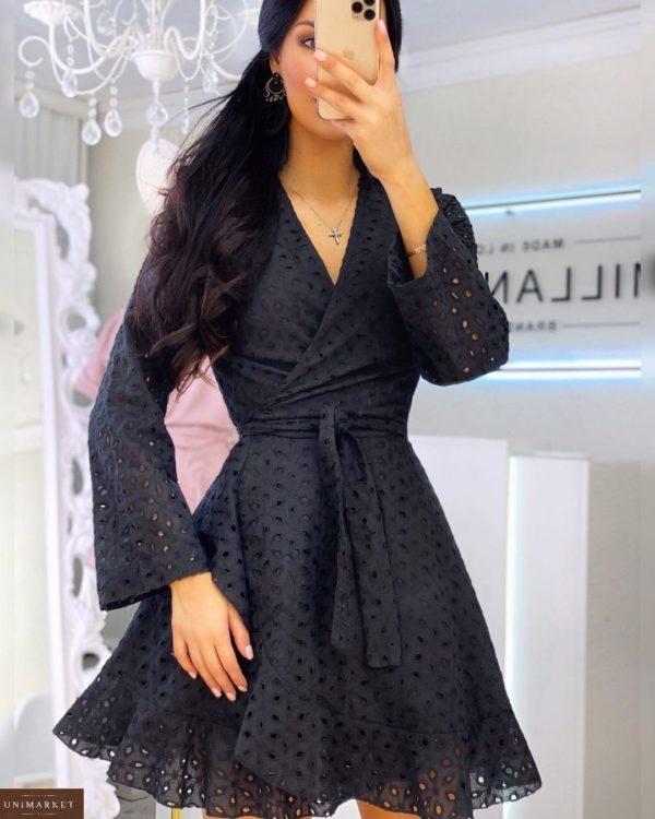 Заказать черное женское платье на запах из прошвы с поясом (размер 42-52) в Киеве