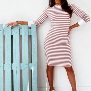 Заказать пудровое женское полосатое платье из вискозы с длинным рукавом недорого