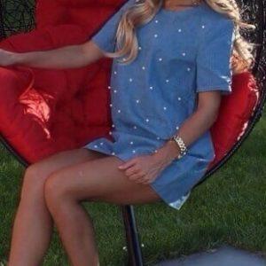 Заказать голубое женское летнее джинсовое платье с бусинками в интернет-магазине онлайн