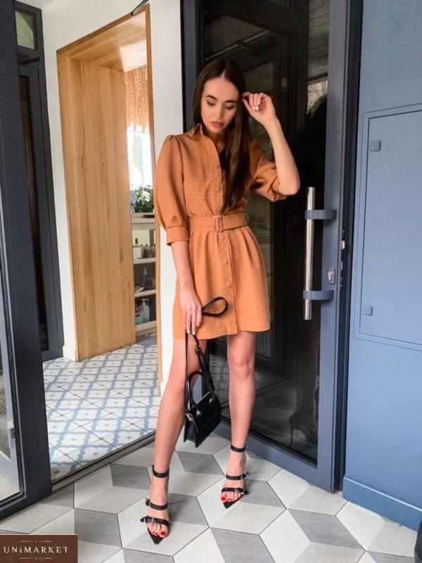 Приобрести коричневое женское платье-рубашка с рукавами-фонариками 3/4 в клетку дешево