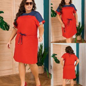 Приобрести красное женское летнее платье прямого кроя с коротким рукавом (размер 50-58) недорого