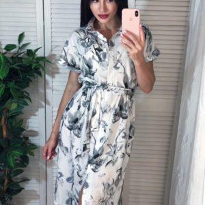 Заказать серое женское платье-рубашку с нежным цветочным принтом дешево