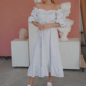 Приобрести женское белое летнее платье миди с открытыми плечами и объемными рукавами (размер 42-50) в Украине