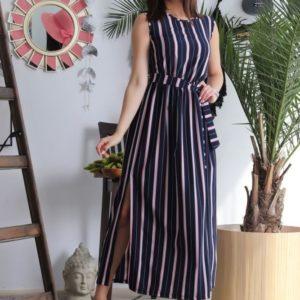 Заказать женское полосатое платье в пол (размер 42-48) синее в Днепре