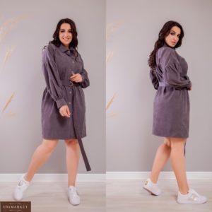 Приобрести фиолетовое женское вельветовое платье-рубашка с объемными рукавами (размер 42-52) дешево