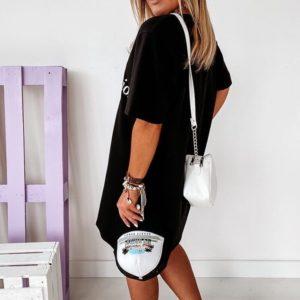Заказать черное женское платье oversize с V-образным вырезом по скидке