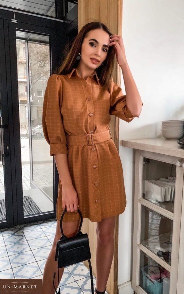 Купить коричневое женское платье-рубашка с рукавами-фонариками 3/4 в клетку онлайн в интернете