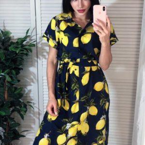 Купить синее женское платье-рубашку с лимонным принтом дешево