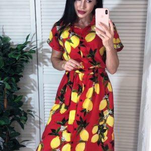 Заказать красное женское платье-рубашку с лимонным принтом по низким ценам