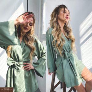 Купить онлайн женское платье-халат из натурального льна по низким ценам