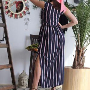 Приобрести женское полосатое платье в пол (размер 42-48) синее в Украине