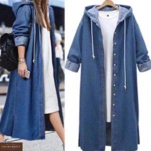 Купить синий женский джинсовый плащ с капюшоном в Украине