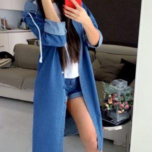 Приобрести синий женский джинсовый плащ с капюшоном дешево