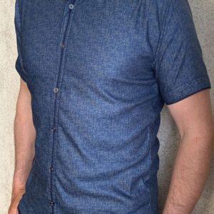 Заказать синюю мужскую летнюю рубашку с коротким рукавом из хлопка (размер 46-54) в Украине