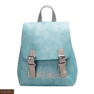 Заказать голубой женский рюкзак из эко кожи на магнитах дешево