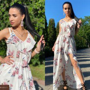 Заказать белый женский длинный принтованный сарафан с рюшами в интернет-магазине
