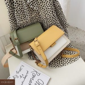 Купить оливковую, желтую женскую трехцветную сумку в нюдовых оттенках в Украине дешево