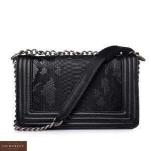 Приобрести черную женскую сумку на цепочке из эко кожи в Украине