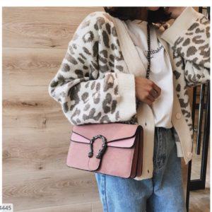Купить розовую женскую двухцветную сумку с двумя отделениями на цепочке в Украине