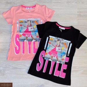 Купить розовую, черную детскую футболку из хлопка с принтом Style в Украине