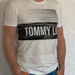 Заказать белую мужскую принтованную футболку из хлопка (размер 46-54) выгодно