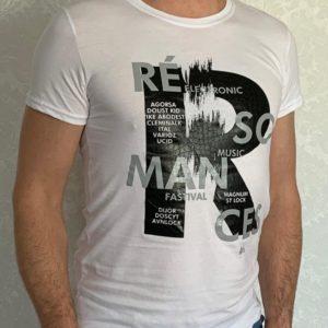 Заказать белую мужскую люминесцентную футболку с принтом (размер 46-54) по скидке