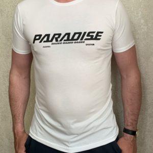 Заказать белую мужскую принтованную футболку Paradise (размер 46-54) дешево