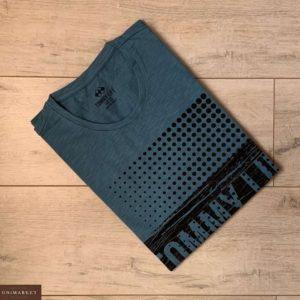 Приобрести синюю мужскую принтованную футболку из хлопка (размер 46-54) дешево