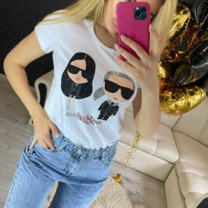 Заказать белую женскую принтованную футболку со стразами (размер 42-48) по скидке