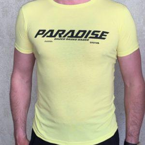 Купить желтую мужскую принтованную футболку Paradise (размер 46-54) онлайн