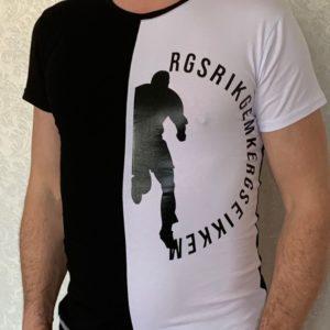 Купить белую мужскую двухцветную футболку с круглым вырезом (размер 46-54) выгодно