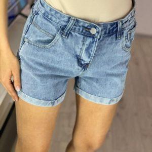 Купити жіночі блакитні класичні джинсові шорти (розмір 44-48) дешево