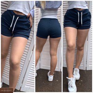 Замовити сині жіночі однотонні короткі шорти з джинса (розмір 42-48) по знижці