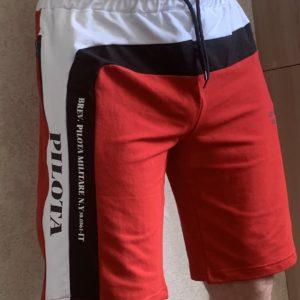 Заказать красные мужские трехцветные трикотажные шорты (размер 46-54) дешево