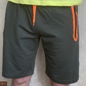 Заказать хаки мужские трикотажные шорты с карманами на змейке (размер 46-54) выгодно