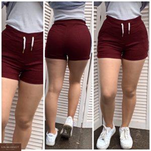 Придбати бордові жіночі однотонні короткі шорти з джинса (розмір 42-48) недорого