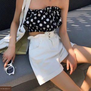 Купити білі жіночі літні джинсові шорти з гумкою на поясі по знижці
